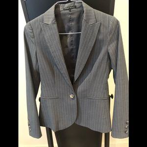 Theory pin-striped suit.